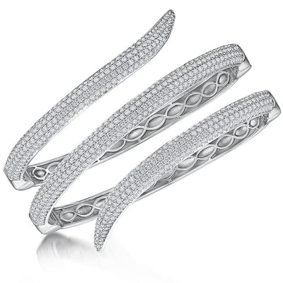 Sterling Silver  Snake Wrap Hinged Bangle  Set With Cubic Zirconia StonesBracelets - JOOLS By Jenny Brown