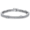 Sterling Silver Double Row  Tennis Bracelet Set With The Finest Cubic Zirconia StonesBracelets - JOOLS By Jenny Brown