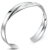 Sterling Silver Overlapping  Bangle Half Plain Silver Half Cubic Zirconia Stone SetBangles - JOOLS By Jenny Brown