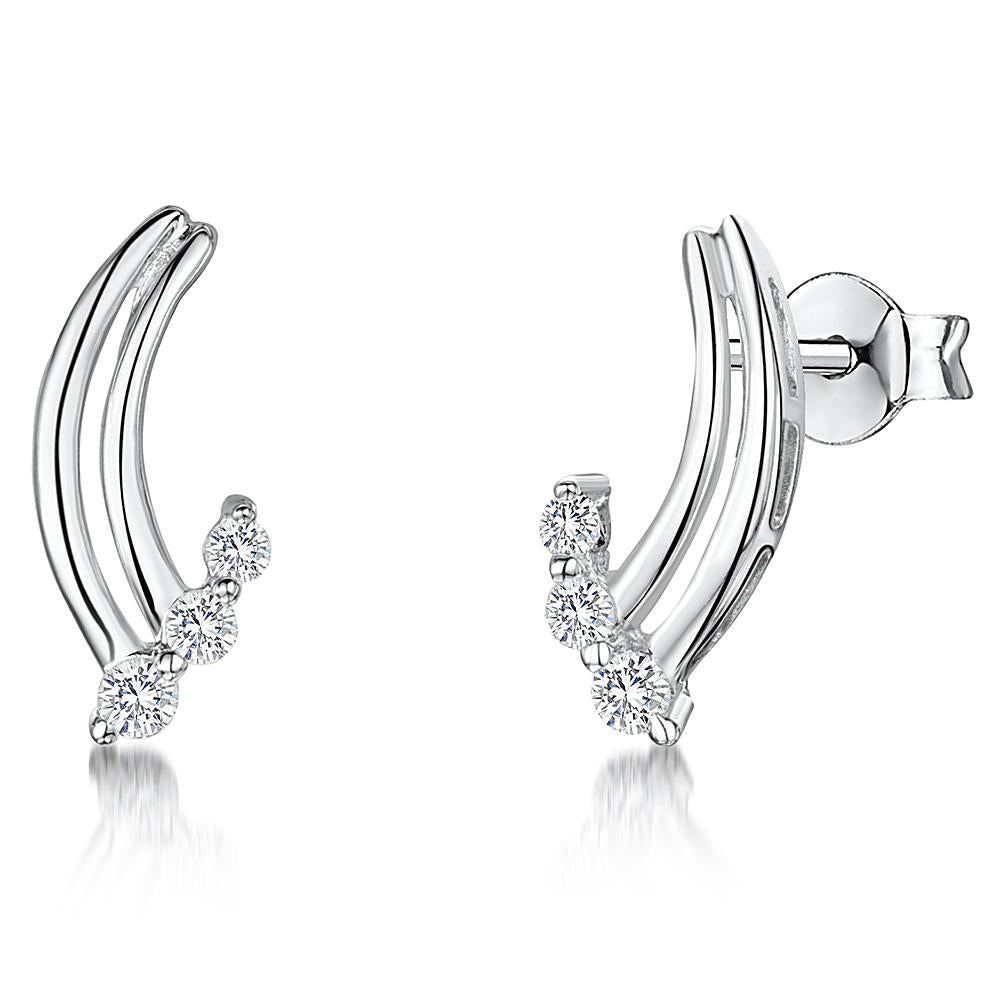 Sterling Silver Curved Earrings With Three CZ StonesEarrings - JOOLS By Jenny Brown