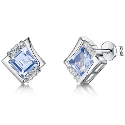Sterling Silver And Blue Topaz Cubic Zirconia Square Offset EarringsEarrings - JOOLS By Jenny Brown