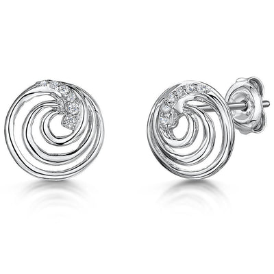 Sterling Silver Swirl Stud Earrings Set With Round Brilliant Cut Cubic Zirconia StonesEarrings - JOOLS By Jenny Brown