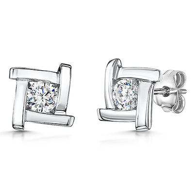 Sterling Silver Earrings  - Single Brilliant Cut Half Carat  CZ Stone Set A Silver Square With Overlapping Sides