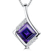 Sterling Silver Cubic Zirconia Amethyst Square PendantPendants - JOOLS By Jenny Brown