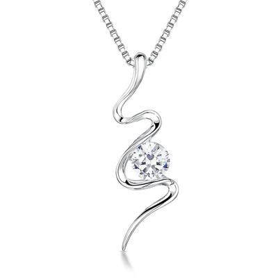 Sterling Silver S Shape Pendant- Featuring A Single Quarter Carat Cubic Zirconia StonePendants - JOOLS By Jenny Brown