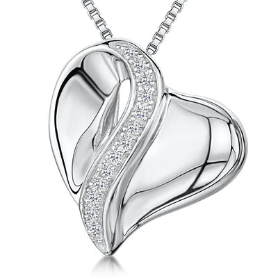 Sterling Silver Heart Pendant With A Stripe Of Cubic Zirconia Stonespendants - JOOLS By Jenny Brown