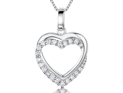 Sterling Silver Pendant- Double Open Heart Pendant With Plain & Cubic Zirconia Pave OutlinePendants - JOOLS By Jenny Brown
