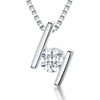 Sterling Silver Pendant Featuring Offset Silver Bars with A Single Round Quarter Carat Cubic Zirconia StonePendants - JOOLS By Jenny Brown