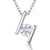 Sterling Silver Pendant Featuring Offset Silver Bars with A Single Round Quarter Carat Cubic Zirconia Stone
