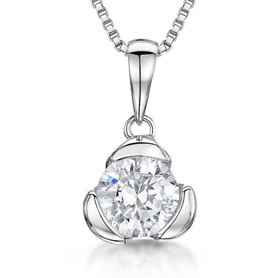 Sterling Silver Pendant With Single 5mm Half Carat Round CZ StonePendants - JOOLS By Jenny Brown