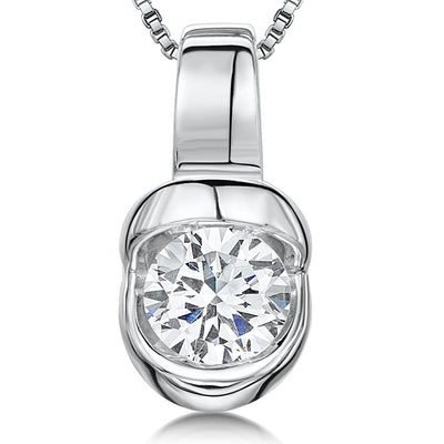 Sterling Silver Rub Set  Pendant With A Single Zirconia StonePendants - JOOLS By Jenny Brown