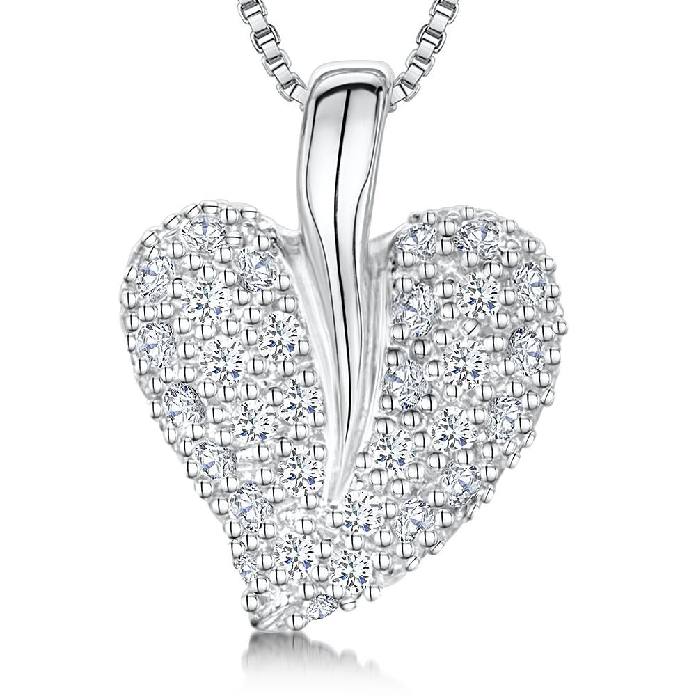 Sterling Silver Heart Pendant Pave Set with a Deep Set Silver Balependants - JOOLS By Jenny Brown