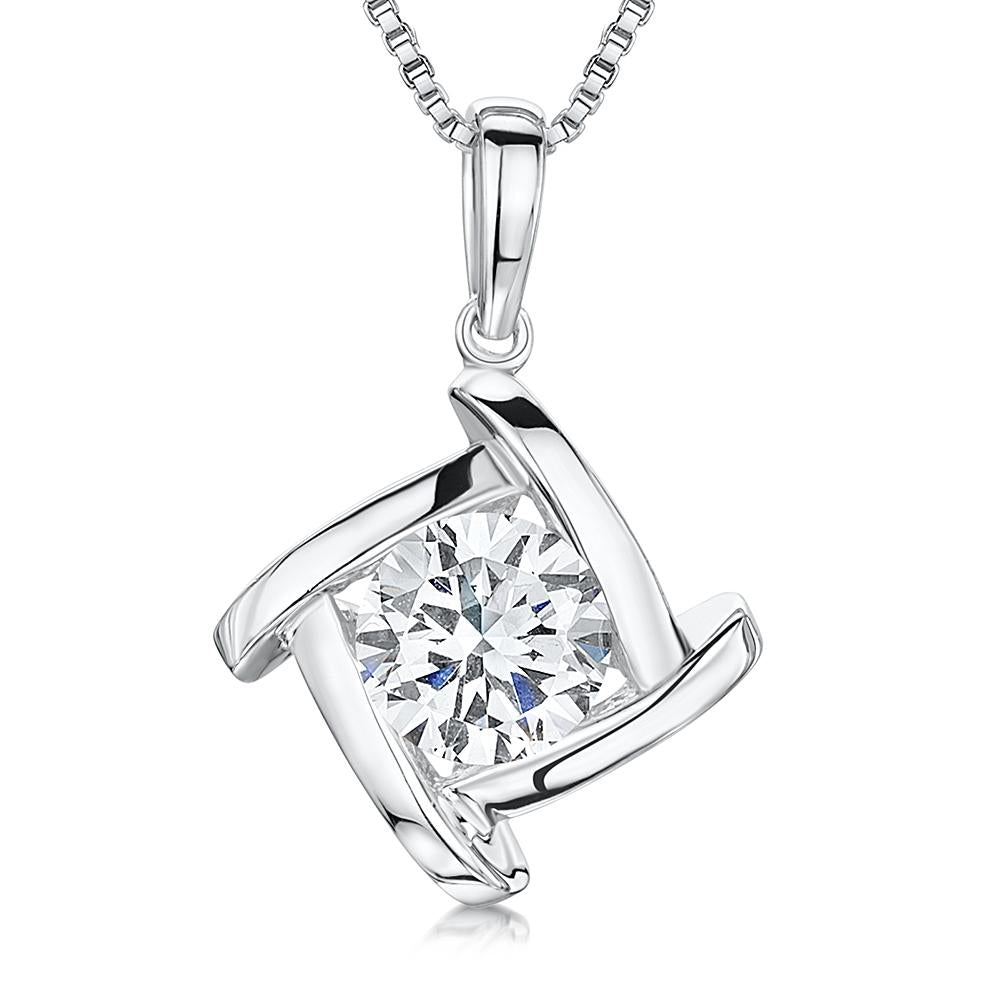 Sterling Silver Pendant - Single Brilliant Cut CZ Stone Set inSilver Square With Overlapping Sides - JOOLS By Jenny Brown