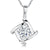 Sterling Silver Pendant - Single Brilliant Cut CZ Stone Set inSilver Square With Overlapping Sides