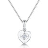 Sterling Silver Heart Pendant Set with A Single Cubic Zirconia Stone Centrependants - JOOLS By Jenny Brown