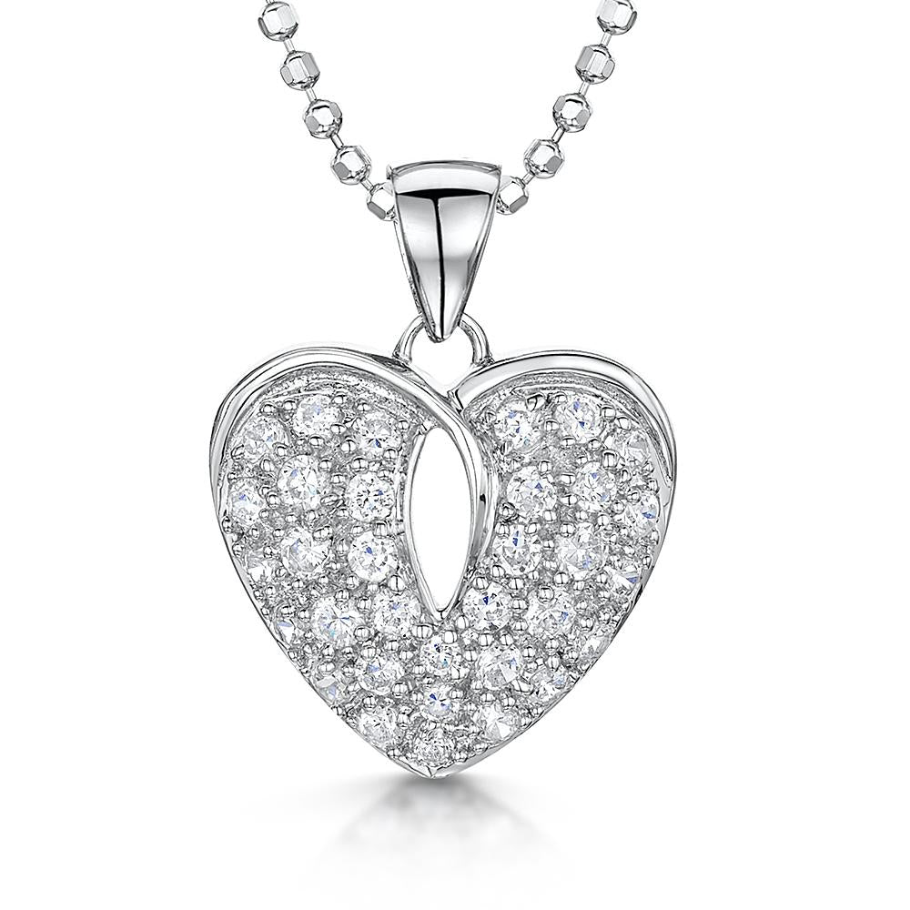 Sterling Silver Cubic White Zirconia Stone Set Heart Pave  Pendant On A Diamond Cut Ball Chain - JOOLS By Jenny Brown