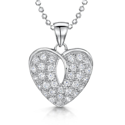 Sterling Silver Heart Pave  PendantPendants - JOOLS By Jenny Brown