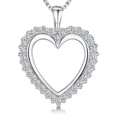 Sterling Silver Heart Pendant -  An Open Heart Surrounded By Round CZ StonesPendants - JOOLS By Jenny Brown