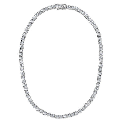 Sterling Silver  41.5 Carat Tennis Necklace Set with Cubic Zirconia StonesNecklace - JOOLS By Jenny Brown