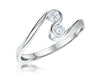 Sterling Silver  Ring  Set With Two Round Cubic Zirconia Stones In A S Shape Setting