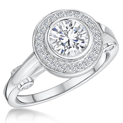 Sterling Silver Halo Ring With A Round Brilliant Cut 1.3 Carat Cubic ZirconiaRings - JOOLS By Jenny Brown