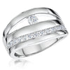 Sterling Silver Triple Band With A Single Round Stone and Band Of With Cubic Zirconia StonesRings - JOOLS By Jenny Brown