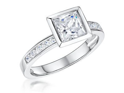 Sterling Silver 2 Carat Princess Cut  Cubic  Zirconia Ring With Channel Set Stone Shoulders