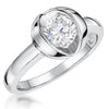 Sterling Silver  Open Tension Set Cubic Zirconia 1 Carat RingRings - JOOLS By Jenny Brown