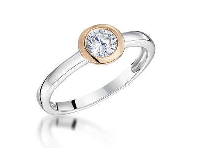 Sterling Silver  Ring  With A Rose Gold Surround And Cubic Zirconia Centre  StoneRings - JOOLS By Jenny Brown