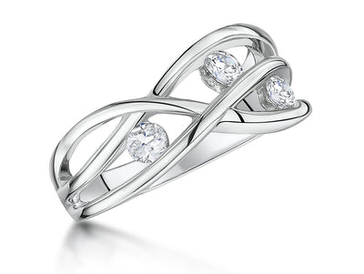 Sterling Silver  Crossover Band Ring  Set With Three  Cubic Zirconia StonesRings - JOOLS By Jenny Brown
