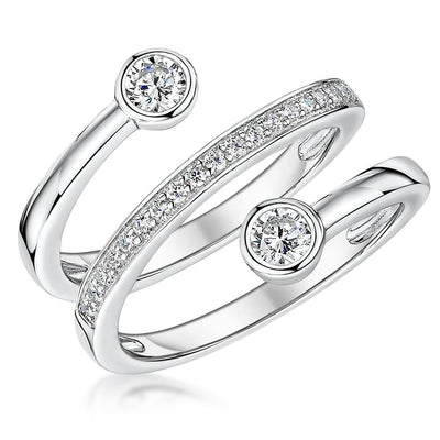 Sterling Silver Open Band  Ring  With Rub Set Stones And A Central Band Of Cubic ZirconiasRings - JOOLS By Jenny Brown