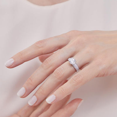 Sterling Silver Solitaire Ring Set With A Two Carat Centre Stone With Two Rows of Pave Set Stone ShouldersRings - JOOLS By Jenny Brown