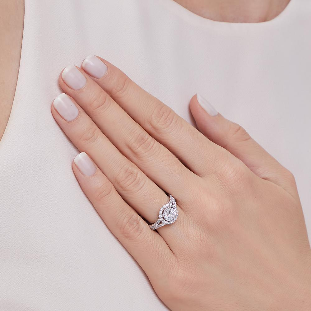 Sterling Silver Halo Ring Set With A 1.3 Carat White Zirconia Centre StoneRings - JOOLS By Jenny Brown