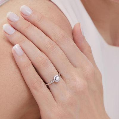 Sterling Silver Halo Ring Set With A  Quarter Carat  Round Brilliant Cut  Cubic Zirconia StoneRings - JOOLS By Jenny Brown