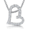 Sterling Silver Offset  Pave Heart Pendant With  A Cubic Zirconia Surroundpendants - JOOLS By Jenny Brown