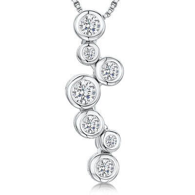 Sterling Silver  Raindance Style Pendant With Seven Zirconia StonesPendants - JOOLS By Jenny Brown
