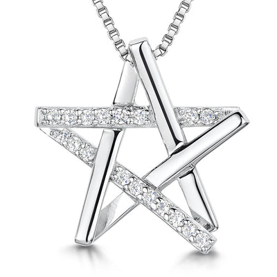 Sterling Silver Pendant Cross Over StarPendants - JOOLS By Jenny Brown
