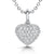 Sterling Silver Small Puff Heart Pendant Set With Cubic Zirconias