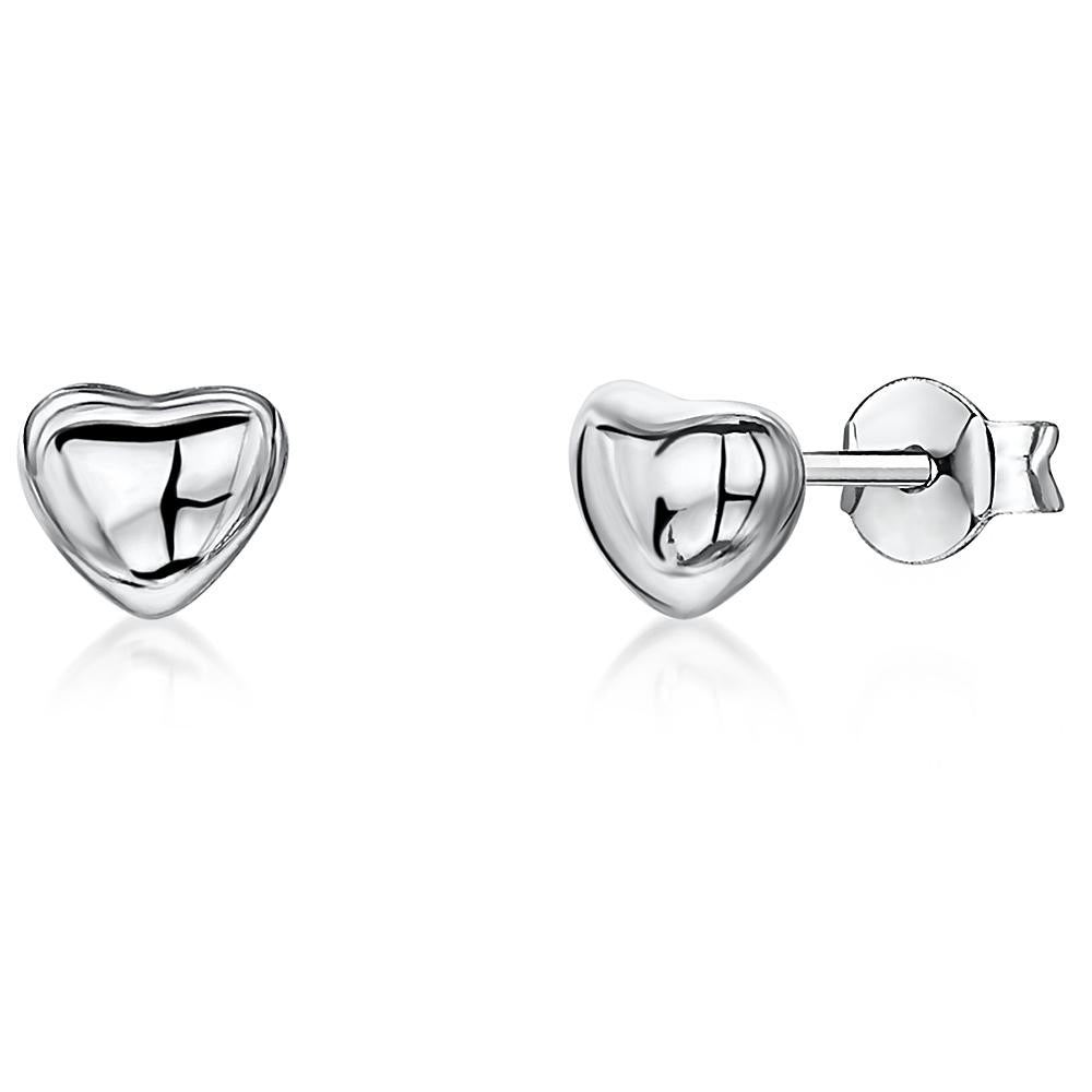 Sterling Silver Heart Stud  Earrings - JOOLS By Jenny Brown