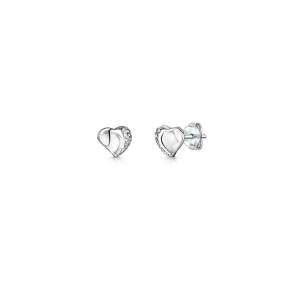 Sterling Silver Offset Heart Stud Earrings Set With One Side of Cubic Zirconia Stonesearrings - JOOLS By Jenny Brown