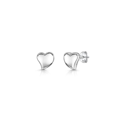 Sterling Silver Plain Offset Heart Stud Earringsearrings - JOOLS By Jenny Brown