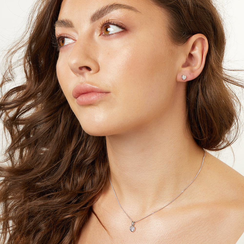Sterling Silver Three Quarter Carat  Heart Solitaire Pendant And Earring Set- Hypoallergenic - JOOLS By Jenny Brown
