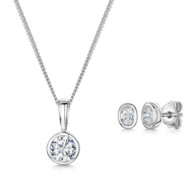 Sterling Silver Rub Set Oval  Pendant And Earring SetEarring & Pendant Set - JOOLS By Jenny Brown