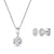 Sterling Silver Rub Set Oval  Pendant And Earring Set