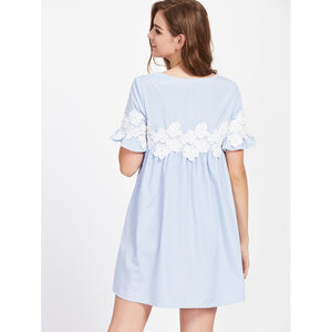 Floral Lace Applique Frill Sleeve Striped Babydoll Dress - Dresses