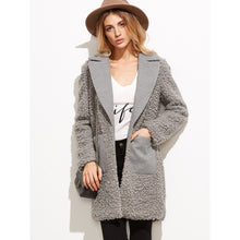 Grey Mixed Media Fluffy Coat With Pocket - Women - Apparel - Outerwear - Jackets