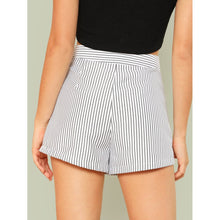 Button Embellished Striped Shorts - Shorts