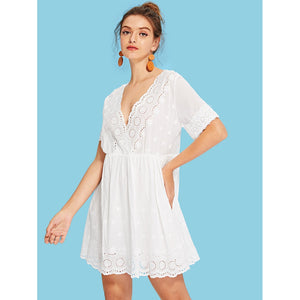 Eyelet Embroidery Scallop Trim Wrap Dress - Dresses