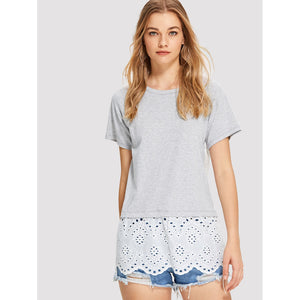 Contrast Panel Tee - Women - Apparel - Shirts - Tunics