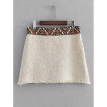 Geo Embroidered Raw Hem Tweed Skirt - Skirts